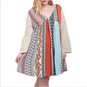 Kori America boho style lace sleeves dress Large